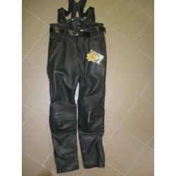 kožené kalhoty s kšandami
